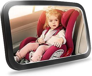 مرآة سيارة للأطفال، مرآة مقعد سيارة آمنة للرضع بواجهة خلفية مع رؤية واضحة واسعة فائقة النقاء، مقاومة للكسر، مجمعة بالكامل،...