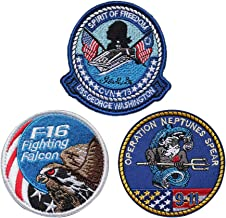 SOUTHYU 3 Pack USA Tactical Morale Patches Military Emblem - 9-11 Operation Neptunes Spear/F16 Fighting Falcon/USS George Washington Embroidered Badge, Hook and Loop Patch