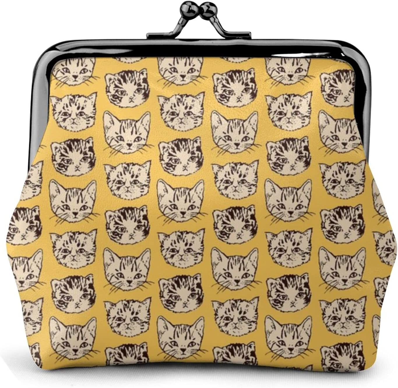Cute Cats Orange 1843 Coin Purse Retro Money Pouch with Kiss-lock Buckle Small Wallet for Women and Girls