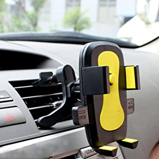 Universal Air VentPhone Car,Smartphone Car Air Vent Mount Holder Cradle Compatible with iPhone XR X XS MAX 8 8 Plus 7 7 Plus SE 6s 6 Plus 6 5s 5 4s 4 Samsung Galaxy S6 S5 S4 LG and More Yellow
