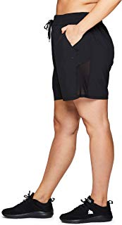 RBX Active Women's Plus Size Stretch Woven Workout Drawstring Short S19 Black 1X