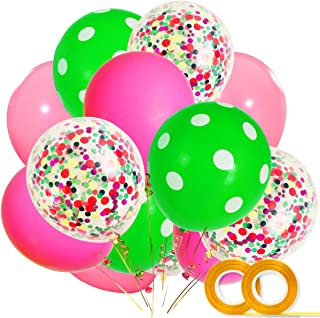 Watermelon Party Supplies Balloons 40 Pack, 12 Inch Light Pink Rose Red Green Polka Dot Latex Balloons with Confetti Balloon for Baby Shower Summer Fruit One in a Melon Birthday Party Decorations