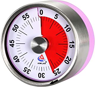 AIMILAR Small Mechanical Kitchen Timer - 60 Minute Visual Countdown Timer Magnetic with Loud Alarm for Kids and Adults Baking Cooking Steaming Barbecue (Purple)