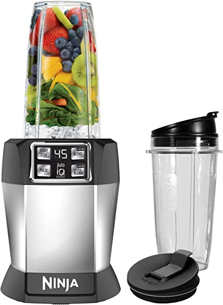 Ninja BL480 Nutri Ninja With 1000 Watt Auto IQ Base For Juices Shakes Smoothies Personal Blender 18 And 24 Oz Black Silver