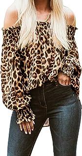 ZANZEA Damen Rundhals Kurzarm Bluse Tops Leopard Tierdruck Freizeit Shirts Tee