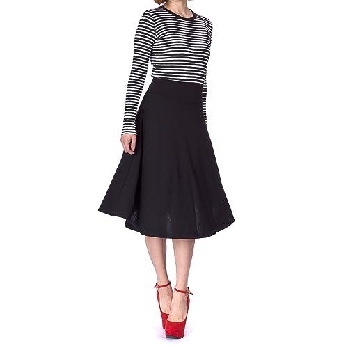 6c18c0330e Dani's Choice Stretch High Waist A-line Flared Long Midi Skirt
