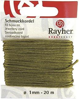 Rayher 8947314 Schmuckkordel, ø 1 mm, 20 m, oliv