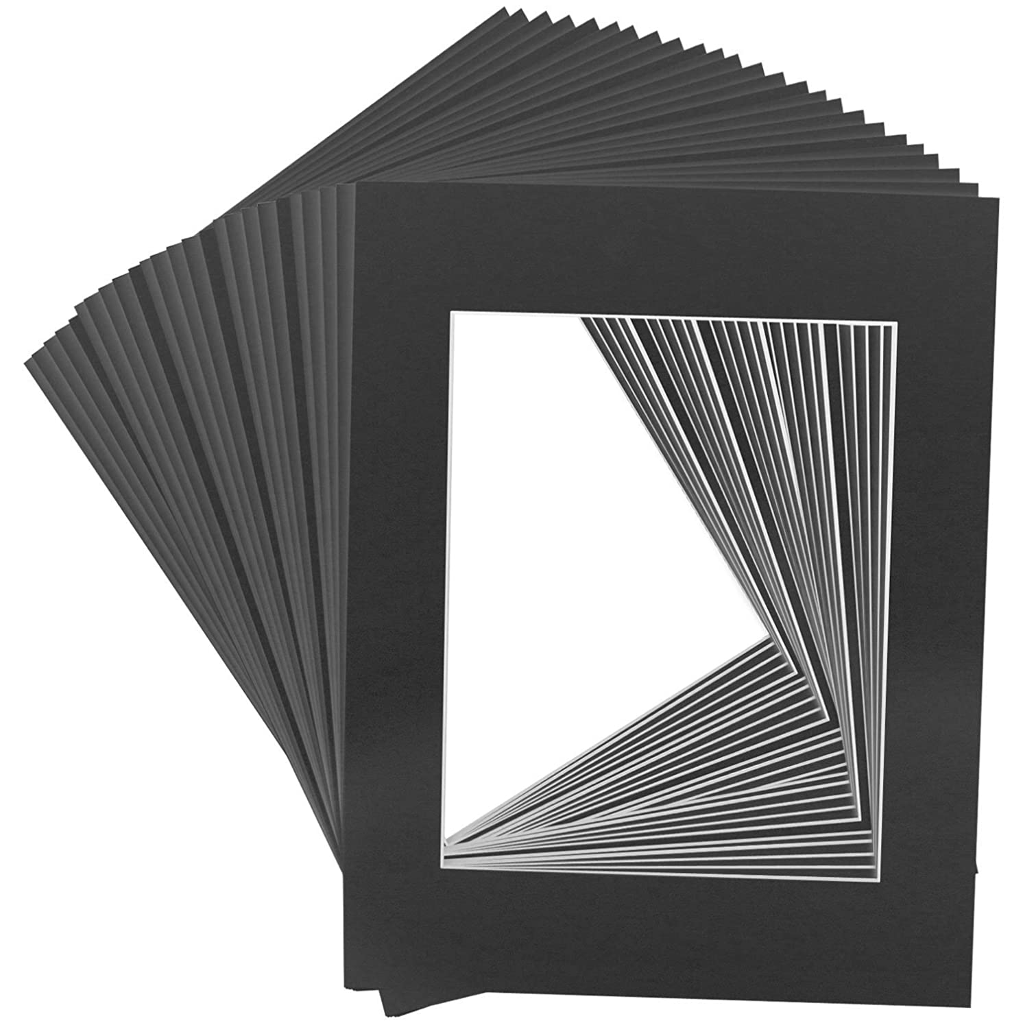 Mat Board Center Premier Acid-Free Pre-Cut 8x10 Black Picture Mat Set. Includes a Pack of 25 White Core Bevel Cut Mattes for 5x7 Photos, Pack of 25 Backers & Clear Bags