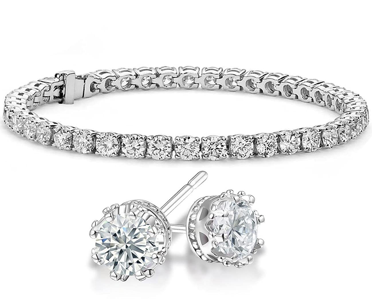 NYC Sterling Cubic Zirconia Crown Stud Earrings and Tennis Bracelet Sterling Silver Gift Set