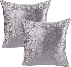 WOMHOPE 2 Pcs - 17 Velvet Throw Pillow Covers Super Soft Short Fuzzy Faux Cushion Decorative Pillow Covers Square Throw Pillowcase Cushion Covers for Sofa,Bed (Silver)