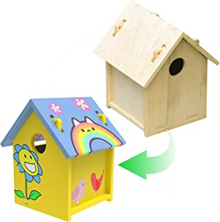 PetNest Art Craft Wood Toys 3-D Painting Puzzle Bird House DIY Wooden Assembly Modle Building Kit for Kid Children Educati...