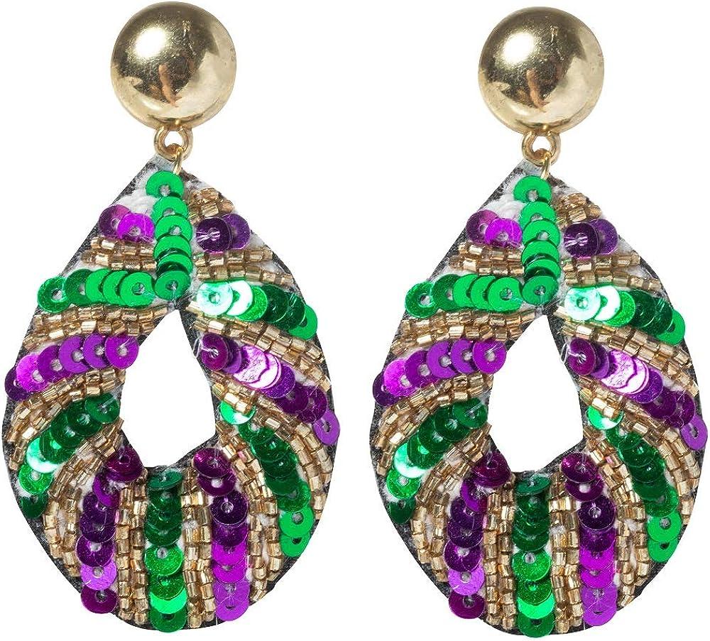 Mardi Gras Beaded Sequin Teardrop Dangle Earrings