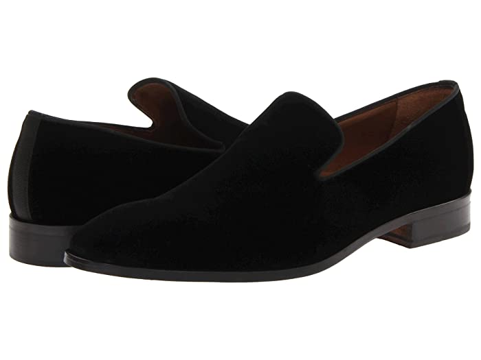 Men's 1950s Shoes Styles- Classics to Saddles to Rockabilly Massimo Matteo Velvet Slip-On Black Mens Slip on  Shoes $124.99 AT vintagedancer.com