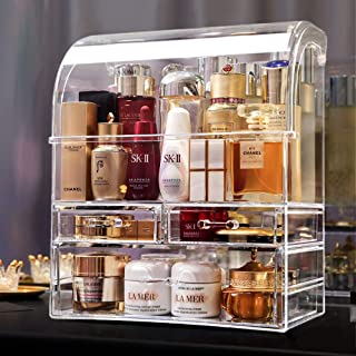 MOOCHI Professional Large Cosmetic Makeup Organizer Dust Water Proof Cosmetics Storage Display Case with Drawers Portable ...