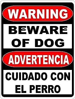 Flyss Warning Bilingual Beware of Dog Sign. English & Spanish Safety Signs. 8