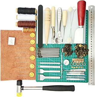 MagiDeal 1 Set Leather Tools Craft DIY Hand Stitching Kit with Groover Awl Waxed Thimble Thread Cutting Board for Sewing Leather, Canvas Or Other Leathercraft Projects