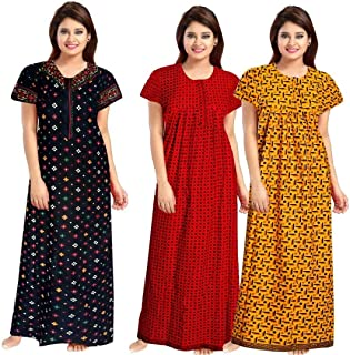 NEGLIGEE Women's Cotton Printed Night Gown Nighty Multi Color Combo Pack of 3 - Free Size