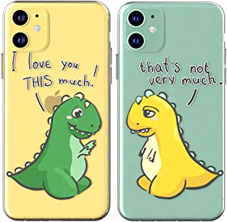 Toik Matching Couple Cases for Apple iPhone 11 Pro Xs Max Xr 10 X 8 Plus 7 6s 5s SE Relationship T-Rex Dino I Love You This Much Girlfriend Cute Gift Best Friend Anniversary Cover TPU BFFs Print