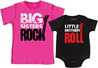 Big Sisters Rock, Little Brother Roll Shirt, Includes Medium (10-12) & 0-3 mo