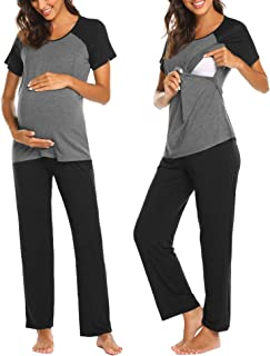 Women's Maternity Nursing Pajama Set Long/Short Sleeve Breastfeeding Sleepwear Pregnancy Hospital PJ Sets