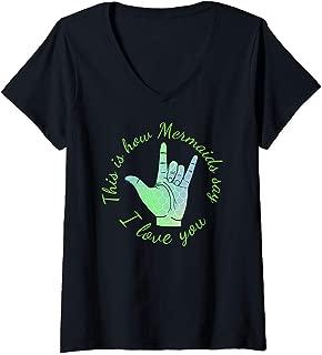 Womens ASL Mermaid green scales I love you design V-Neck T-Shirt