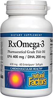 RxOmega-3 by Natural Factors, Natural Support for Cardiovascular Health with DHA and EPA, Daily Dietary Supplement, 60 Ent...