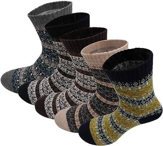 جوارب نسائية 5 أزواج طاقم جوارب طريفة بنمط جوارب مريحة منسوجة دافئة للمشي مع امتصاص الرطوبة
