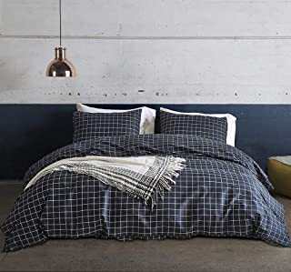 Fire Kirin Grid Bedding King Size Navy Blue Plaid Pattern Lightwhight Microfiber Duvet Cover Set with Zipper Closure, 1 Checkered Duvet Cover 2 Pillowcases
