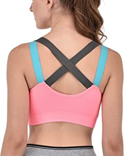 Glamroot Women's Padded full Coverage Quick Dry Padded Shockproof Racer Back Sports Bra with Removable Soft Cups for Gym, Yoga, Running, and Fitness …