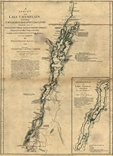 A survey of Lake Champlain including Lake George Crown Point and St John Shows naval actions at Valcour Island and Buttonm...