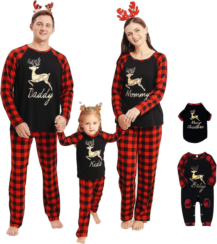 Camidy Family Matching Outfits Christmas Pajamas Set Reindeer Striped Xmas Sleepwear Homewear PJ for Pet Baby Kids Mom Dad