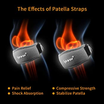 IPOW 2 Pack Thickened Pad & Wide Patella Knee Strap, Pain Relief Patellar Tendon Support, Adjustable Brace Band for B...