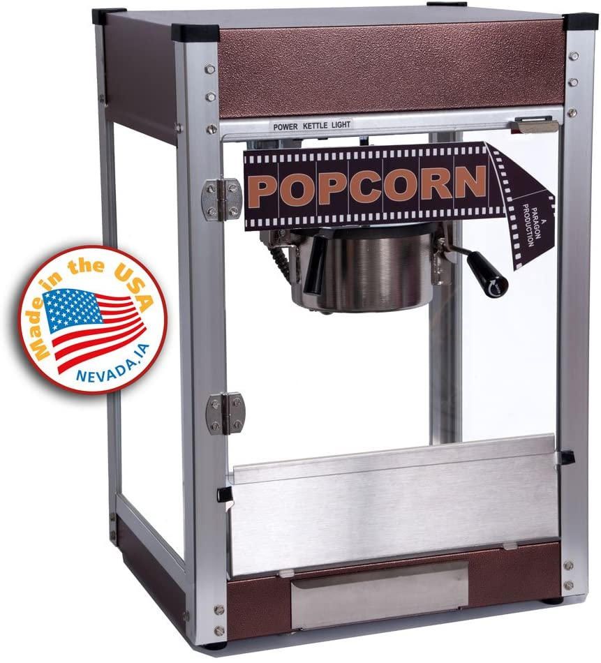 Paragon Cineplex Yellow Pop 4 Ounce Popcorn Machine for Professional Concessionaires Requiring Commercial Quality High Output Popcorn Equipment Copper