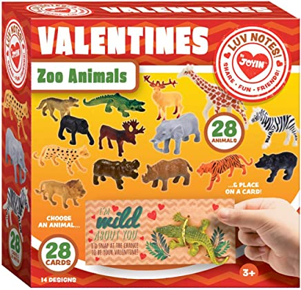 JOYIN 28-Count Valentines Day Gifts Cards for Kids with Zoo Animals