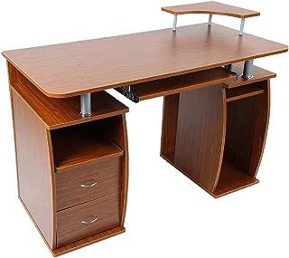 HOMCOM Home Office/Dorm Computer Desk with Elevated Shelf, Brown