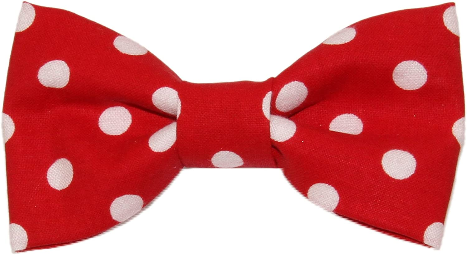 Toddler Boy 4T 5T Red With White Polka Dots Clip On Cotton Bow Tie - Made in USA