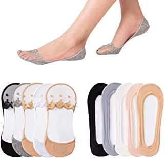 J-BOX 10 Pack Women's No Show Socks Nylon Invisible Low Cut Boat Liner Socks With Non-Slip Grips