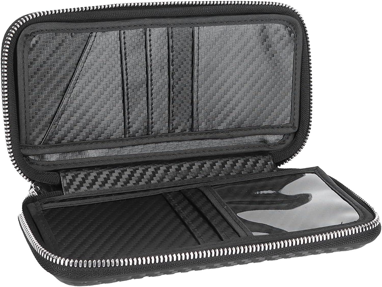 Cartera portátil con cremallera, bolsa de fibra de carbono para negocios, tarjetero, bolsa de 8.3x4.3x1.4in para almacenar cambios, fotos, tarjetas, certificados