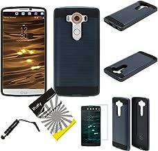 for LG V10 ITUFFY (TM) 3items Combo: Screen Protector + Stylus Pen + Dual Layer Impact Resistance Hybrid Armor Case (Metallic Dark Blue)
