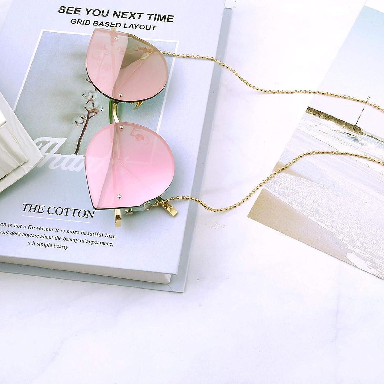 Initial Gold Plated Beaded Eyeglass Chain Sunglasses Eyewear Strap Holder Reading Glasses Retainer for Women Men Teen Girls, 28 Inch Length Glasses Holder Chain