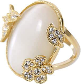 MOONSTONE Women's Fashion Ring Classic Oval Shaped Flower-Leaf-Butterfly, Ladies Jewelry