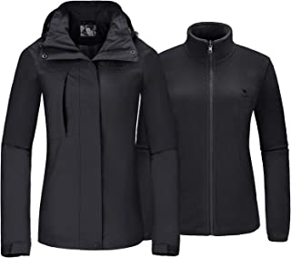 CAMELSPORTS Women's Ski Jacket for Winter 3 in 1 Waterproof Windproof Snow Hooded Jacket with Warm Fleece Liner Jacket - Black - Large