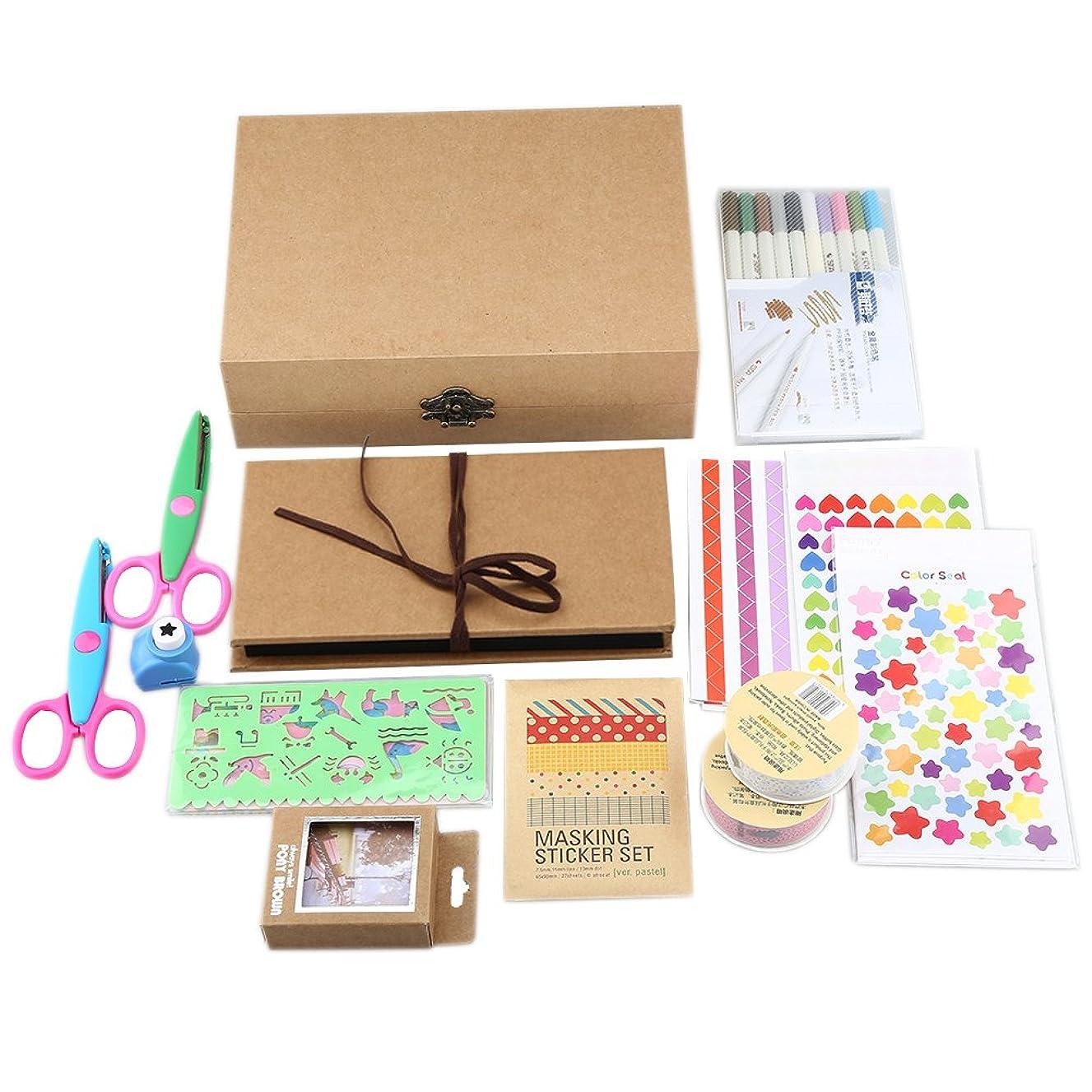 Gotideal DIY Scrapbook Album Craft Paper Wedding and Anniversary Photo Album Family Scrapbook with Photo Album Storage Box , DIY Accessories Kit and Scrapbooking Supplies (Pure)