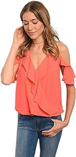 Women Coral Ruffle Cold Shoulder Plunge Neckline Blouse Top Casual