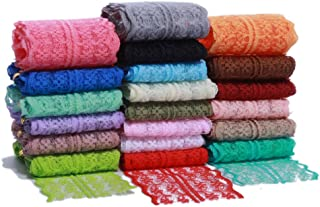 Masokan Lace Trim Ribbons by The Yard for DIY Crafts Womens Clothing and Baby Girls Hair Accessories (1.77 inches, 20 Yards, 1 Yard of Each Color)