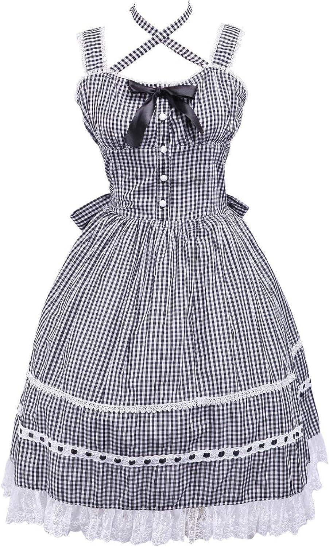 Antaina Black Plaid Cotton Lace Ruffle Bow Sexy Sweet Lolita Cosplay Dress