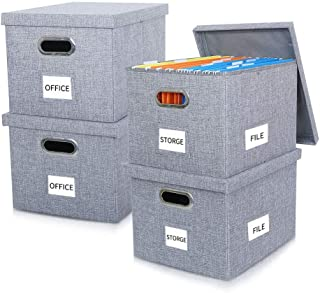 Collapsible File Storage Boxes with Lids Large Capacity Filing Organizer Letter/Legal File Floder Storage, Office Box, 4Packs Gray