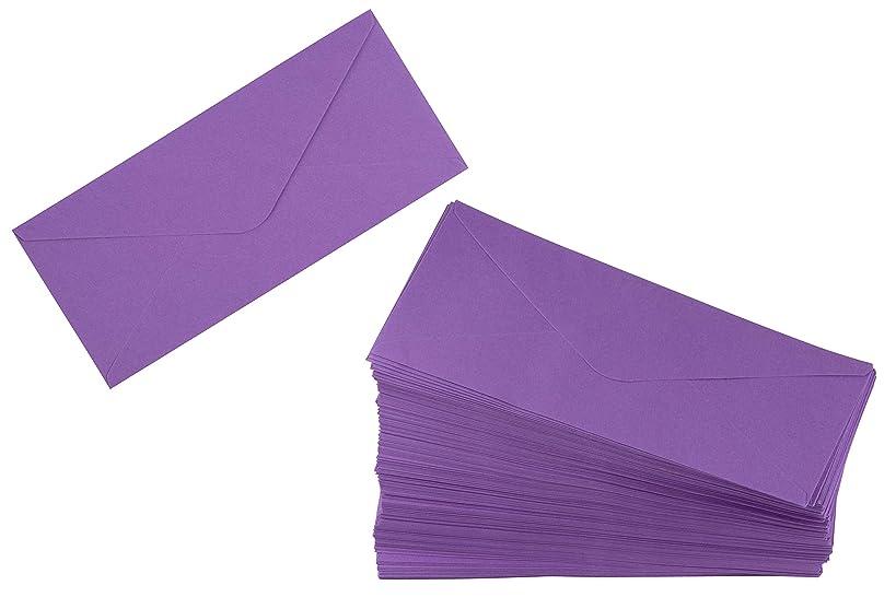 Business Envelopes - 200-Pack #10 Envelopes, Standard V-Flap Envelopes for Holiday, Office, Checks, Invoices, Letters, Mailings, Windowless Design, Gummed Seal, Purple, 4-1/8 x 9-1/2 Inches