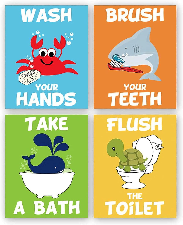 "Funny Sea Life Kids Themed Bathroom Signs Wall Art Prints, Boys and Girls Bathroom Rules Signs Canvas Wall Art Decor, Set of 4-(8"" X 10"" Unframed)-Perfect for Children Washroom Bathroom Decoration"