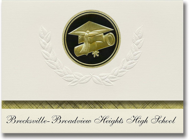 Signature Ankündigungen brecksville-broadview Höhen High School Graduation Ankündigungen, Ankündigungen, Ankündigungen, Presidential Basic Pack 25 mit Gold & Schwarz Metallic Folie Dichtung B079MVC34M   Kompletter Spezifikationsbereich  405446